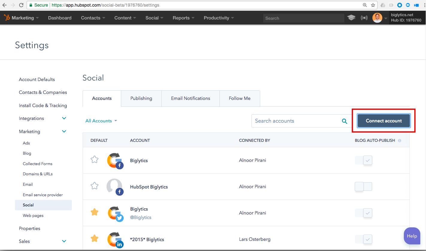 piattaforma hubspot social settings