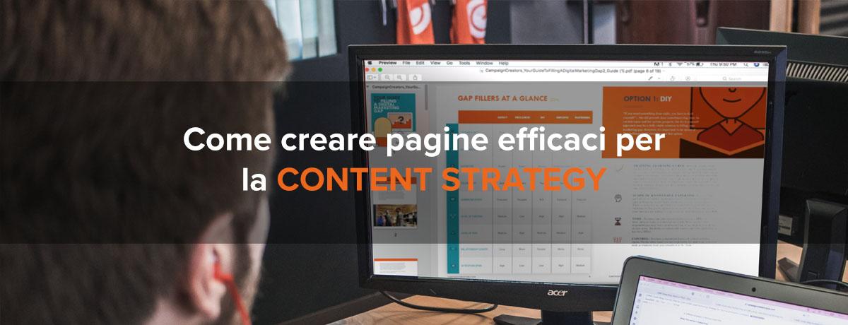 Come creare pagine efficaci per la content strategy
